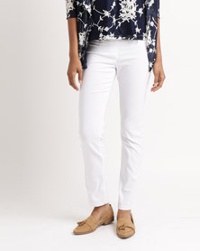 Queenspark Zip Pocket Stretch Woven Trousers White