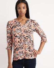 Queenspark Print Woven Shirt Orange