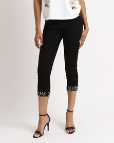 Queenspark Pearl & Diamante Cuffed Woven Capri Jeans Black
