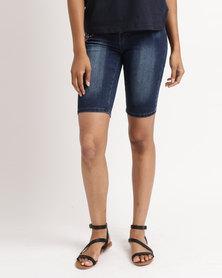 Queenspark Lady In Red Woven Denim Shorts With Belt Dark Blue