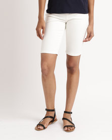 Queenspark Chain mail Embroidered Woven Denim Shorts White