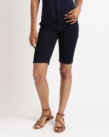 Queenspark Chain mail Embroidered Woven Denim Shorts Dark Blue