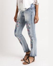 Queenspark Dynamic Floral Diamond Woven Denim Jeans Indigo