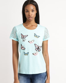 Queenspark Butterfly Lace Sleeve Knit Top Aqua