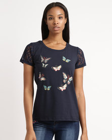 Queenspark Butterfly Lace Sleeve Knit Top Navy