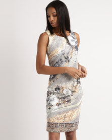 Queenspark Bejewelled Printed Knit Dress Multi