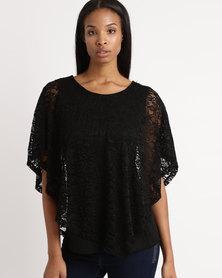 Queenspark Lace Glam Knit Blouse Black
