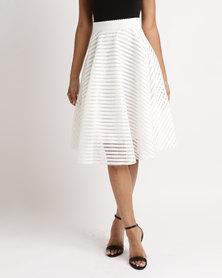 Queenspark Hoop Glamour Woven Skirt Cream