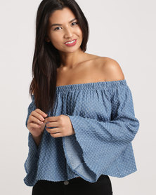Eve Emporium Ruffle Sleeve Bardot Top Denim