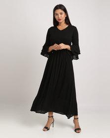 Eve Emporium Ruffle Sleeve Maxi Dress Black