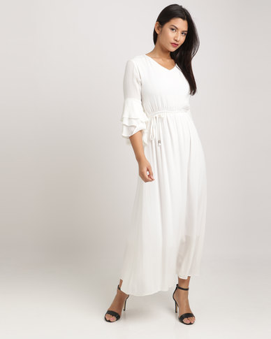Eve Emporium Ruffle Sleeve Maxi Dress White