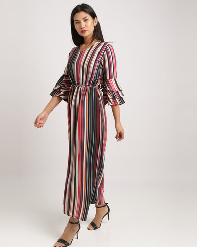2ad9fe480c802 Eve Emporium Ruffle Sleeve Maxi Dress Multi Stripe