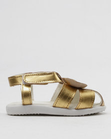 Shooshoos Hey Sugar Slip On Sandals Gold