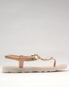 Candy Sling Back Toe Thong Sandal Nude