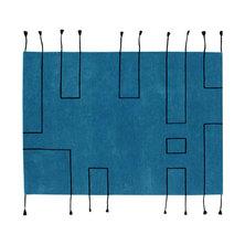 Lorena Canals Nordic Lines Wool Rug Petrol Blue