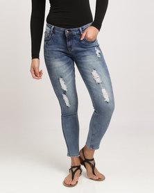 Revenge Rip & Repair Skinny Jeans Blue