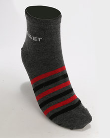 Soviet Phantom 2 Pack Low Cut Socks Grey/Red
