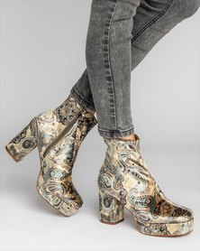 Jeffrey Campbell Fosse-Lo Ankle Boots Paisley Velvet