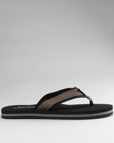 Jeep Chilli Toe Thong Sandals Black/Brown