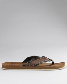 Jeep Cuba Toe Thong Sandals Brown