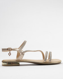 Bronx Romily Flat Embellished Sandals Gold