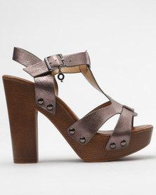 Bronx Trinita Platform Sandals Pewter