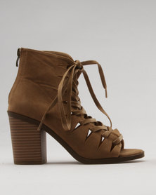 Utopia Block Heel Lace Up Shoes Taupe
