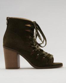 Utopia Block Heel Lace Up Shoes Khaki
