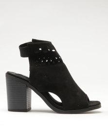 Utopia Block Heel Lasered Shoes Black