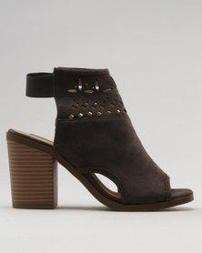 Utopia Block Heel Lasered Shoes Charcoal