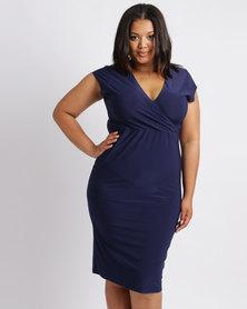 Me Melanie Wrap Dress Navy
