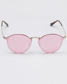 Ray-Ban Gold Frame Mirror Lens Pink