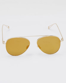 You & I Noseless Aviator Mirror Sunglasses Gold-tone