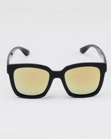 You & I Chunky Wayfarer Frame Mirror Sunglasses Black