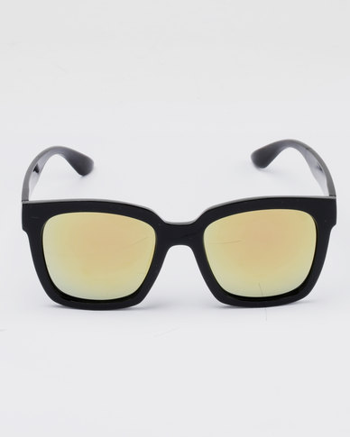 082c67ba0c You   I Chunky Wayfarer Frame Mirror Sunglasses Black
