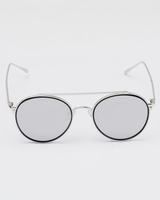 ed37dd881c6 You   I Vintage Round Mirror Sunglasses Silver and Black