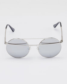 You & I Double Bar Round Metal Mirror Sunglasses Silver-tone