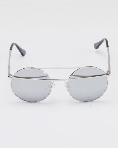 You & I Double Bar Round Metal Mirror Sunglasses Silver-tone