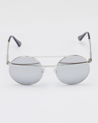 93adbefa442 Zando. You   I Double Bar Round Metal Mirror Sunglasses Silver-tone