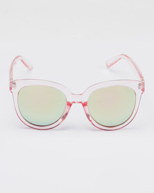 You & I Transparent Plastic Cat Eye Mirrored Sunglasses Pink