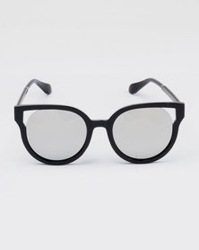 You & I Plastic Cat Eye Mirror Sunglasses Black and Silver-tone