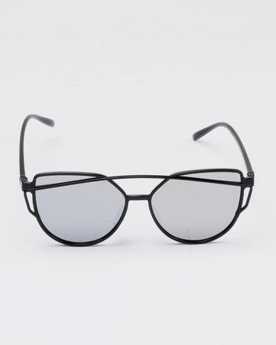 095fedd1d1c You   I Plastic Trendy Cat Eye Detail Mirror Sunglasses Black