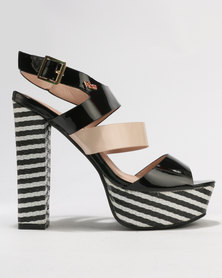PLUM Pippa Block Heel Platform Sandals Black
