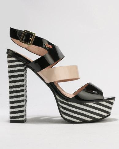 PLUM Pippa Block Heel Platform Sandals Black