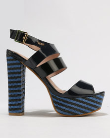 PLUM Pippa Block Heel Platform Sandals Navy