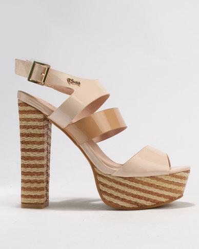 75f58bd1636 PLUM Pippa Block Heel Platform Sandals Nude