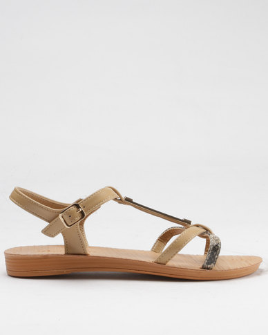 Beauty Girl Strappy Flat Sandals Nude