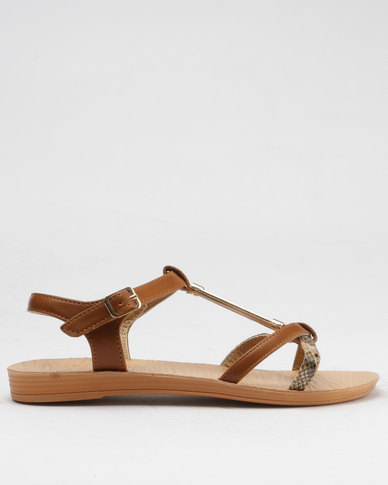 73c6c0b5e045d Beauty Girl Strappy Flat Sandals Brown