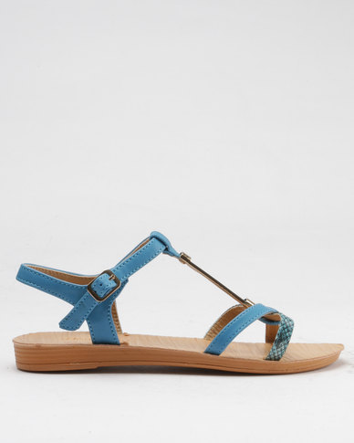 bd9bab84d809 Beauty Girl Strappy Flat Sandals Blue