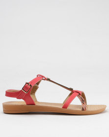 Beauty Girl Strappy Flat Sandals Red